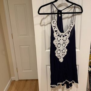 NAVY AND WHITE LACE SUNDRESS